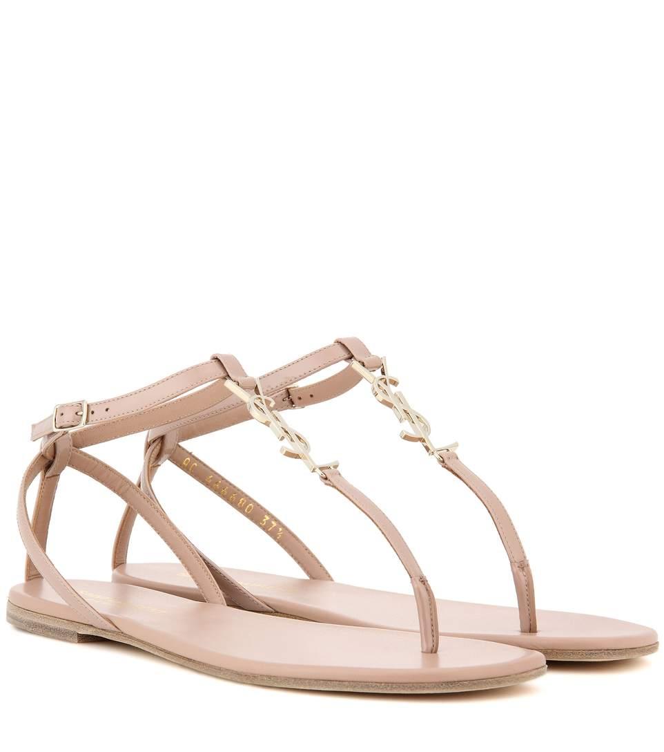 292d5dfa069 Saint Laurent Nu Pieds 05 Ysl Leather Sandals In Eude | ModeSens