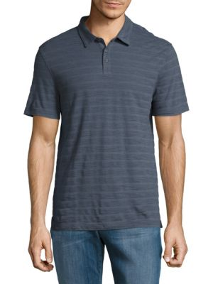 John Varvatos Striped Cotton Polo In Midnight