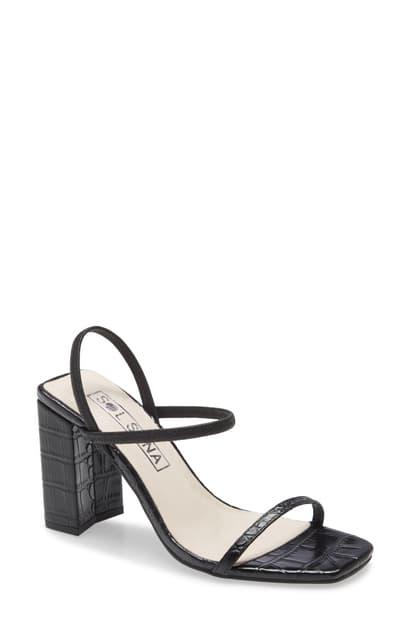 Sol Sana Lily Ankle Strap Sandal In Black Leather