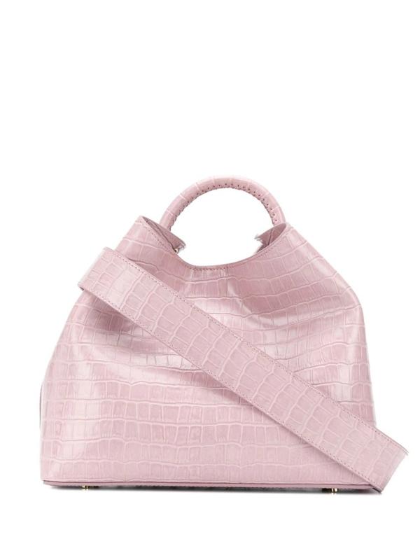 Elleme Raisin Embossed Croc-effect Tote Bag In Pink