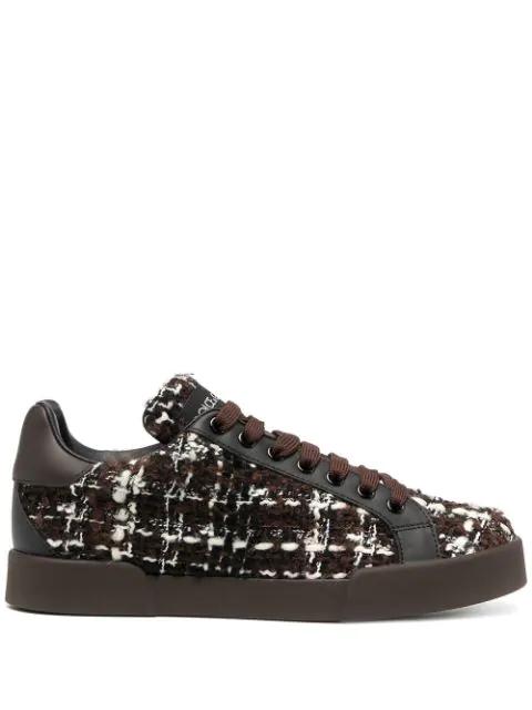 Dolce & Gabbana Portofino Tweed Low-top Sneakers In Brown