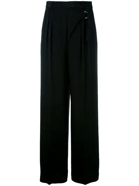 T By Alexander Wang Paperbag Waist Wide-Leg Pants In 001 Black