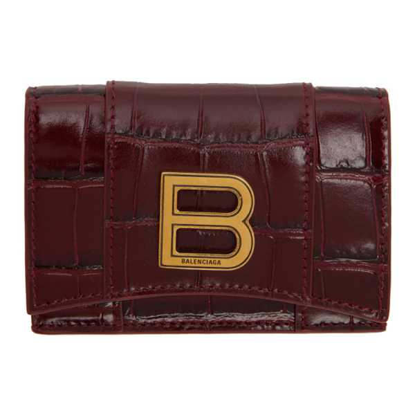 Balenciaga Hourglass Compact Wallet In 6211 Drkred