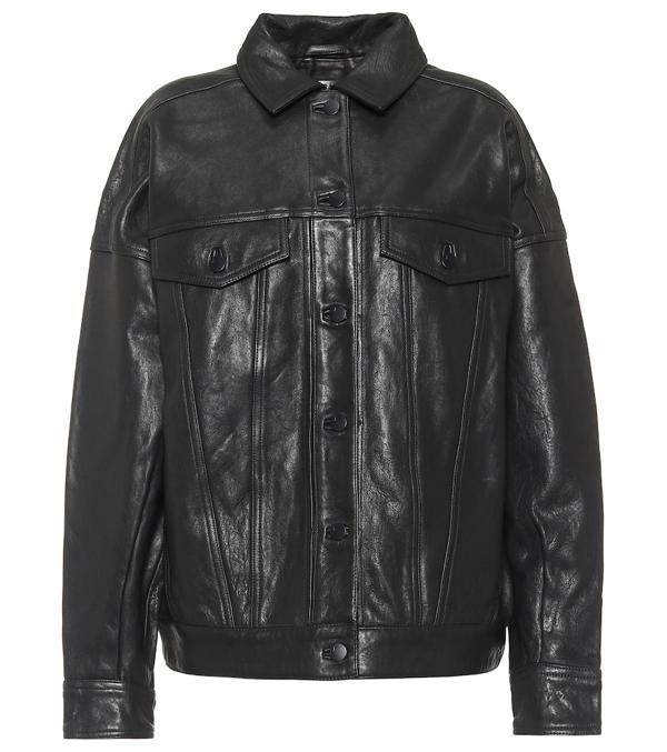 J Brand Drew Oversized Leather Jacket In Black