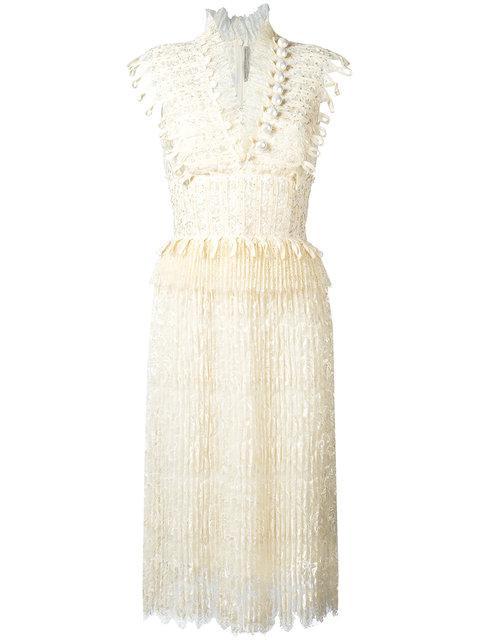 Ermanno Scervino V-neck Fringed Midi Dress In White