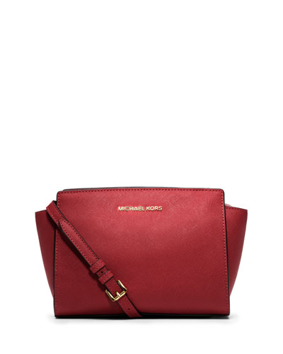 Michael Michael Kors Selma Medium Saffiano Leather Messenger In Red