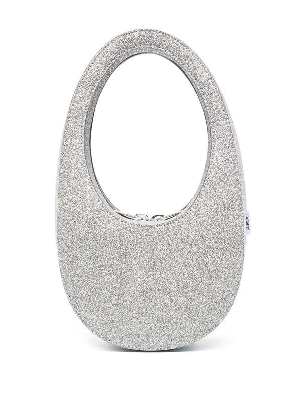 Coperni Silver Leather Mini Glittered Tote Bag