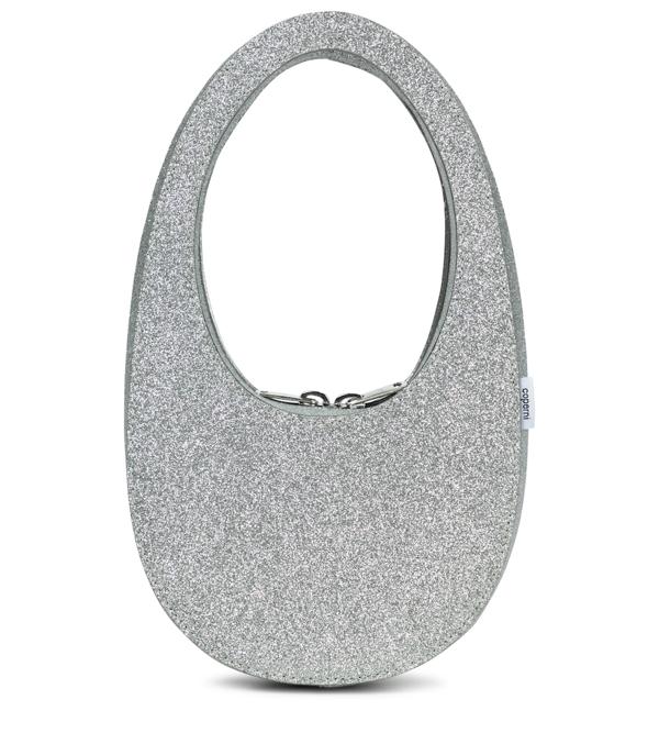 Coperni Swipe Mini Leather Shoulder Bag In Silver