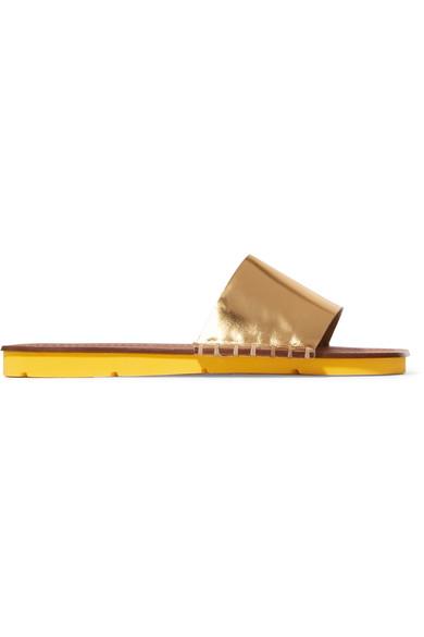 Prada Metallic Leather Slides In Gold
