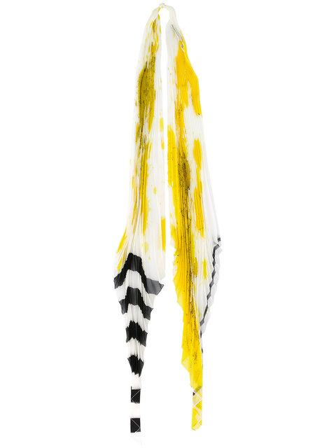 Haider Ackermann Orion Stripe Pleated Scarf In Yellow