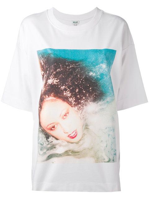 Kenzo Polaroid-Print Cotton-Jersey T-Shirt In White