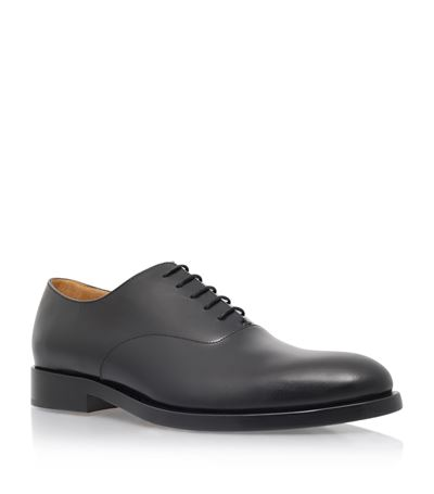 Valentino Mirrored Leather Lace-up Oxford In Black