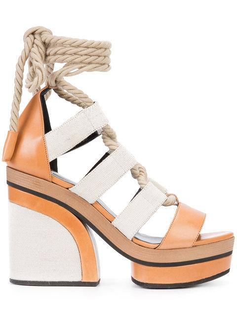 Pierre Hardy Lace-Up Platform Sandals - Brown