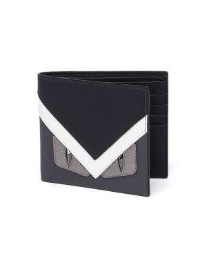 dcfb9bee46 Fendi Monster Eyes Leather Bi-Fold Wallet, Graphite In Grey/White ...