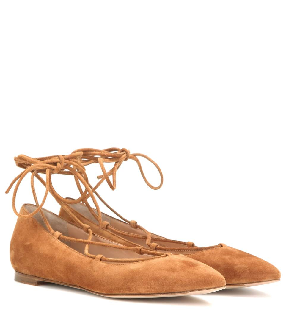 Gianvito Rossi Suede Ballerinas In Brown