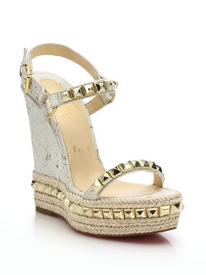 e32d61a8460 Cataclou Studded Leather Wedge Red Sole Sandal, Sahara/Light Gold in White