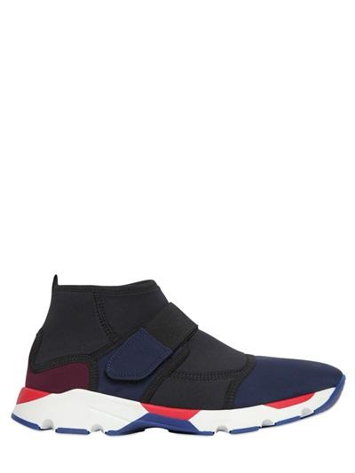 Marni 20mm Neoprene Strap Slip-on Sneakers, Black/blue