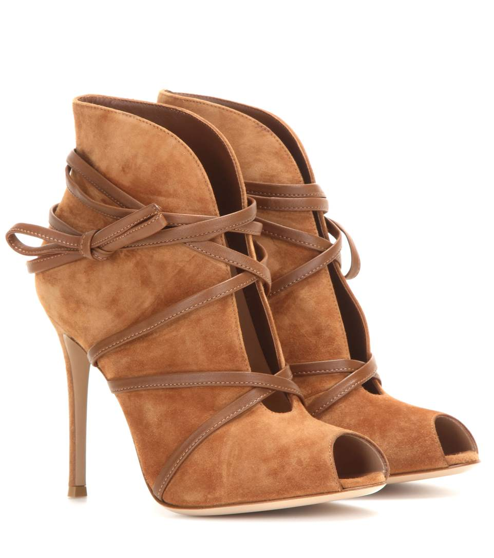 Gianvito Rossi Suede Open-Toe Ankle Boots In Beige