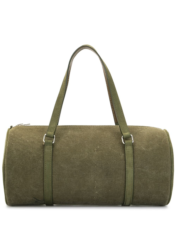 Readymade Papillon Upcycled Cotton Barrel Bag In Green