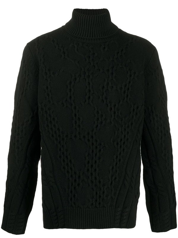 Dondup Roll-neck Cable Knit Sweater In Black