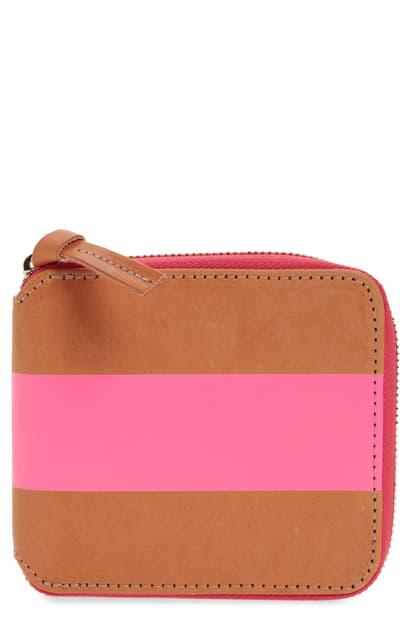 Clare V Half Zip Wallet In Russet W/neon Pink Stripe