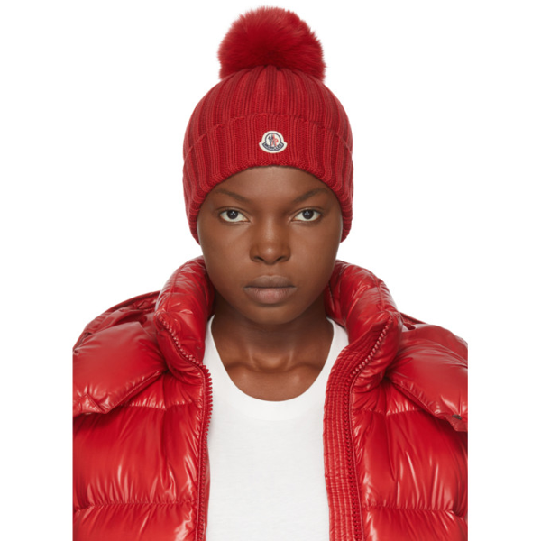 Moncler Rib Virgin Wool Beanie With Genuine Fox Fur Pom In 455 Red