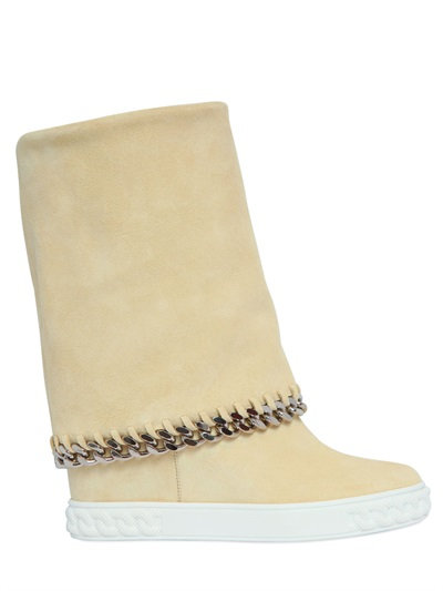 Casadei 90mm Suede Wedge Sneakers W/ Chain Trim, Light Yellow