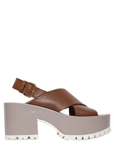 Marni 85mm Fringed Leather Sandals, Brown/grey
