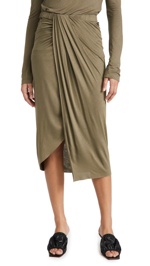 Helmut Lang Ruched Jersey Skirt In Naval Green