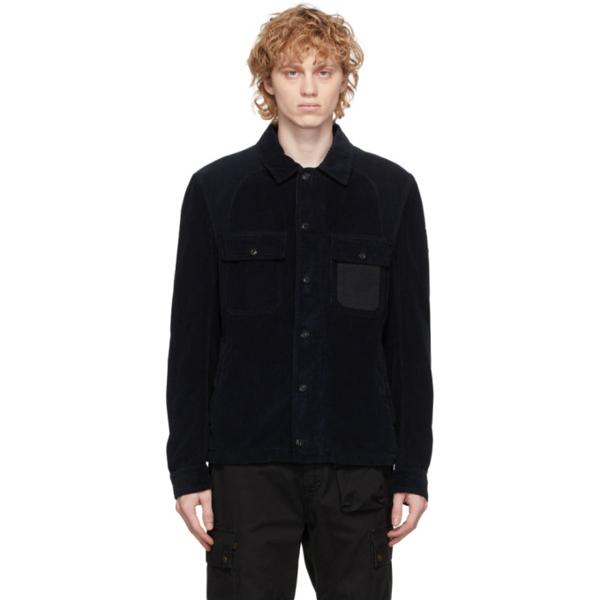 Belstaff Rake Canvas-trimmed Cotton-corduroy Shirt Jacket In 80092 Dkink