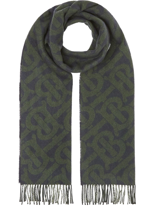 Burberry Reversible Check And Monogram Cashmere Scarf In Blue