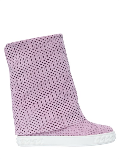 Casadei 90mm Perforated Suede Wedge Boots, Light Pink