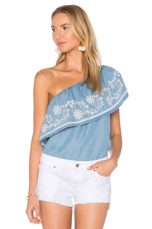 Rebecca Minkoff Rita One-shoulder Embroidered Top, Light Blue