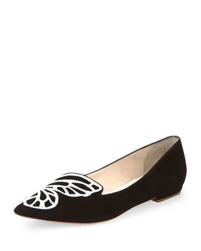 Sophia Webster Bibi Butterfly Ballerinas In Black-rose Gold