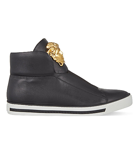 Versace First Idol Leather High-top Sneakers In Black