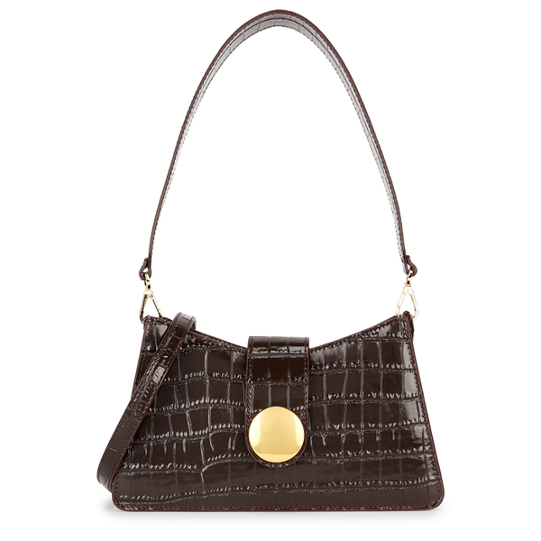 Elleme Baguette Crocodile-effect Leather Cross-body Bag In Dark Brown