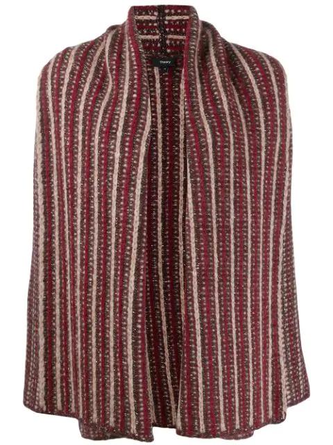 Theory Alpaca-blend Striped Cardigan In Brown