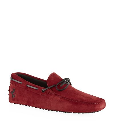 Tod's Ferrari Gommino Suede Driving Shoes In Red