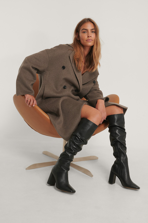 Na-kd Knee High Leather Boots Black