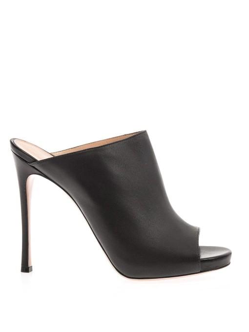 Gianvito Rossi Open-toe Leather Mules In Black