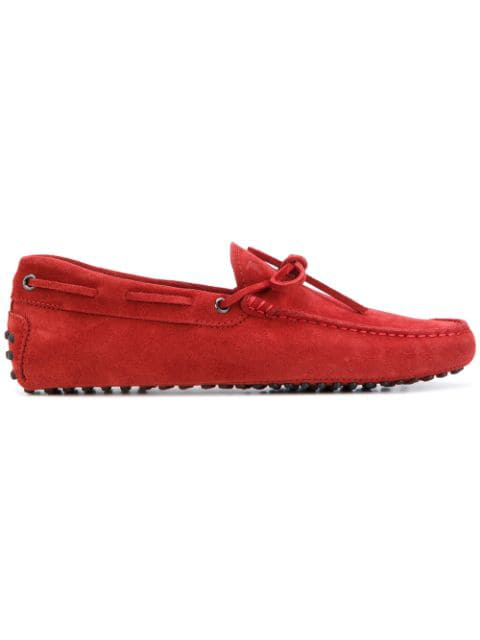 Tod's Men's Suede Loafers Moccasins Gommini 122 In R007 Red