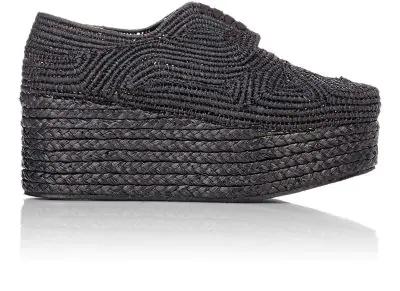 Robert Clergerie Pinto Raffia Espadrille Platform Sneakers In Black