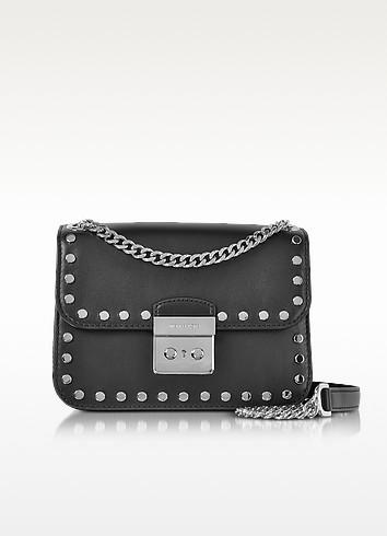 cca07fae5989 Michael Kors Sloan Editor Medium Black Leather Chain Shoulder Bag W Studs