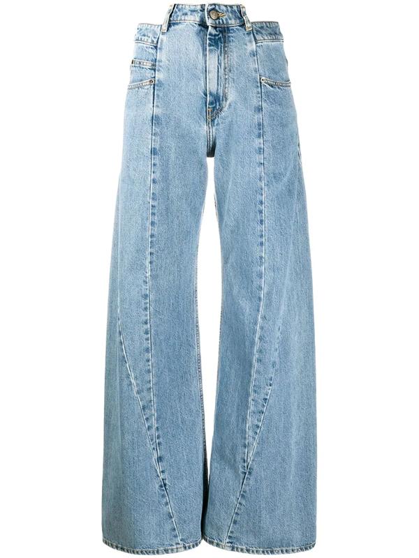Maison Margiela Décortiqué Paneled High-rise Wide-leg Jeans In Blue
