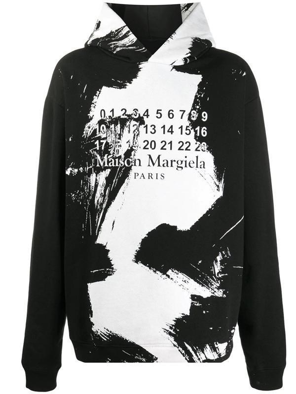 Maison Margiela Brushstroke Logo Cotton-jersey Hooded Sweatshirt In Black