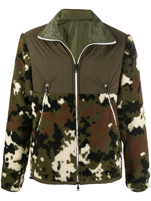 Moncler Camouflage Cardigan In Green