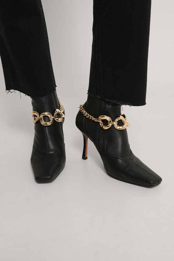 Na-kd Chain Detailed Boot Anklets Gold