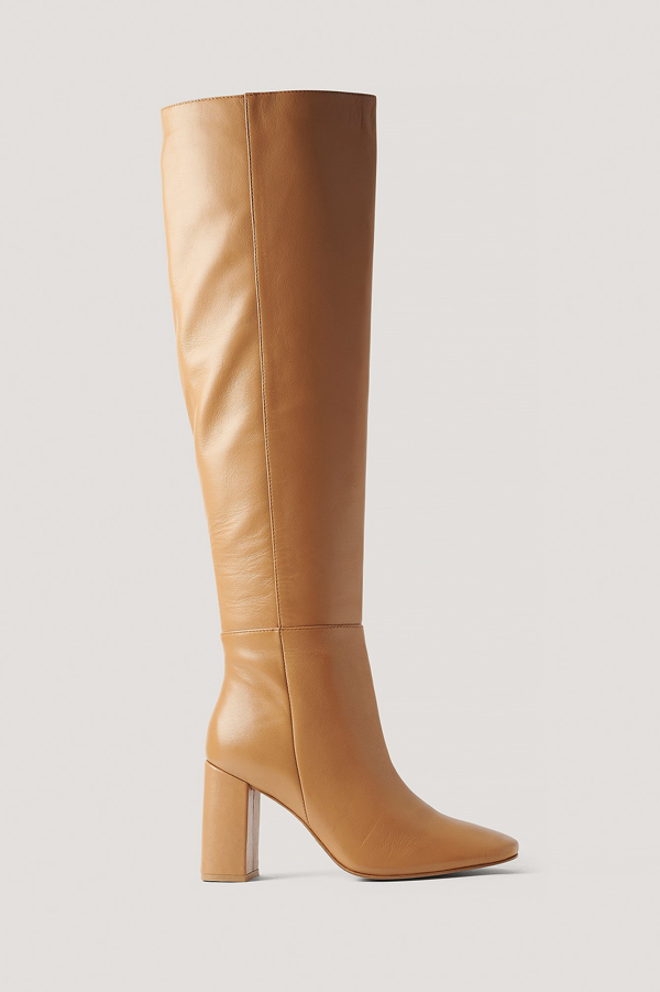 Na-kd Knee High Leather Boots Beige In Neutrals
