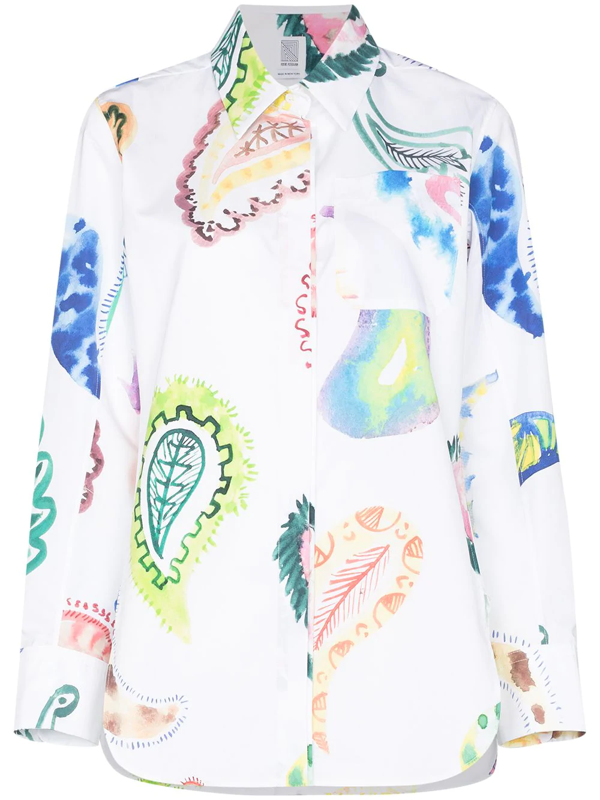 Rosie Assoulin Multicolor Oversize Paisley Print Button Up Shirt In White