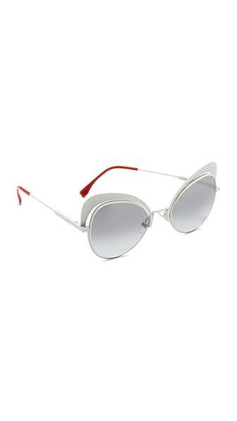 5af17f8de5f2a Fendi 54Mm Cat Eye Sunglasses In White Grey Azure